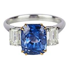 Blue Sapphire Diamond Fashion Ring Set in 18 Karat White Gold 'SI/GH Diamonds'