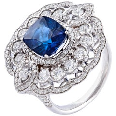 Blue Sapphire Diamond Fashion Ring Set in 18 Karat White Gold 'VS/G Diamonds'