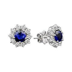 Blue Sapphire Diamond Flower Stud Earrings