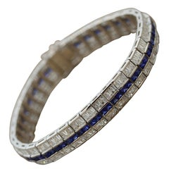 Blue Sapphire Diamond Gold Bracelet