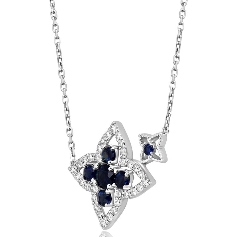 6 Blue Sapphire Round 1.08 Carat With White Round Diamonds around 0.45 Carat in a Chic 14K White Gold Necklace.  Style available in different price ranges. Prices are based on your selection of 4C's Cut, Color, Carat, Clarity. Please contact us for