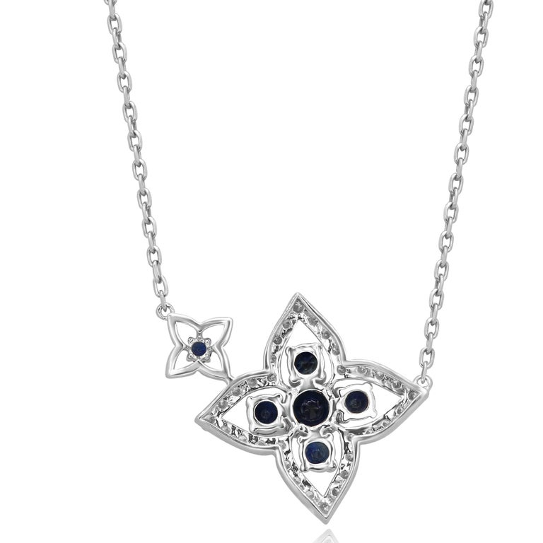 Contemporary Blue Sapphire Diamond Gold Chain Drop Necklace For Sale