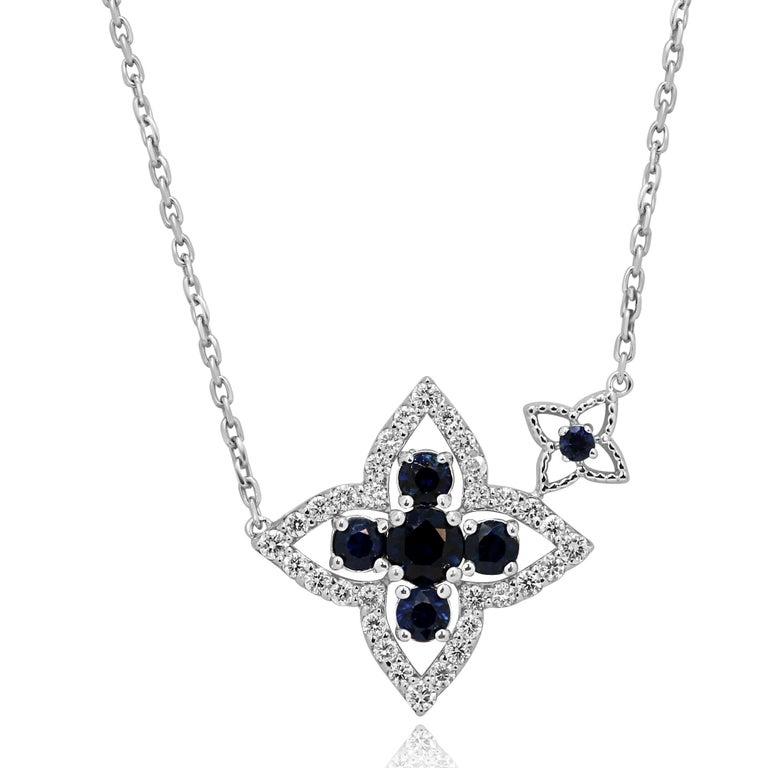 Round Cut Blue Sapphire Diamond Gold Chain Drop Necklace For Sale