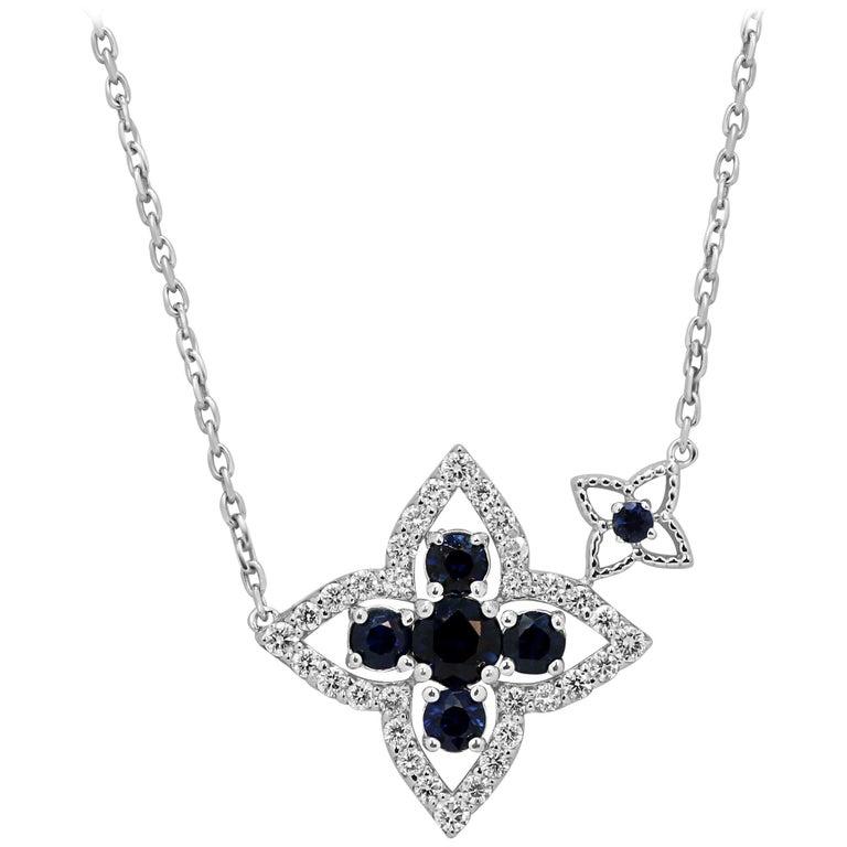 Blue Sapphire Diamond Gold Chain Drop Necklace For Sale