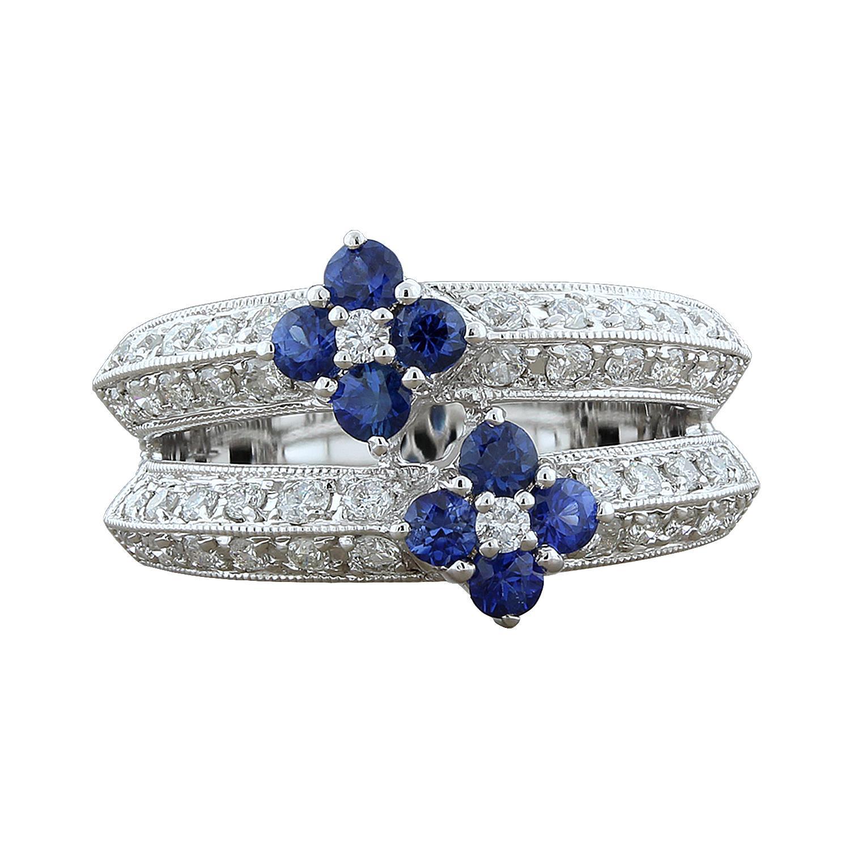 Blue Sapphire Diamond Gold Flower Ring