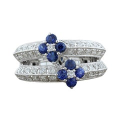 Blue Sapphire Diamond Gold Flower Ring