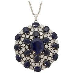 Blue Sapphire Diamond Gold Pendant