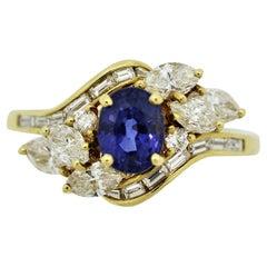 Blue Sapphire Diamond Gold Spray Ring
