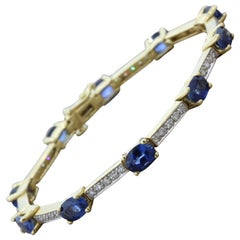 Blue Sapphire Diamond Gold Tennis Bracelet