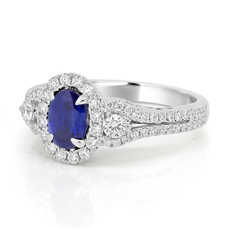Blue Sapphire Oval Diamond Halo Bridal Fashion Cocktail Three-Stone Gold Ring In Excellent Condition For Sale In NEW YORK, NY
