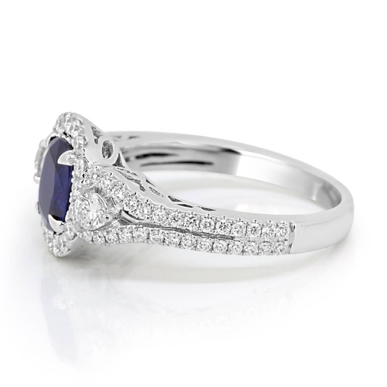Women's Blue Sapphire Oval Diamond Halo Bridal Fashion Cocktail Three-Stone Gold Ring For Sale