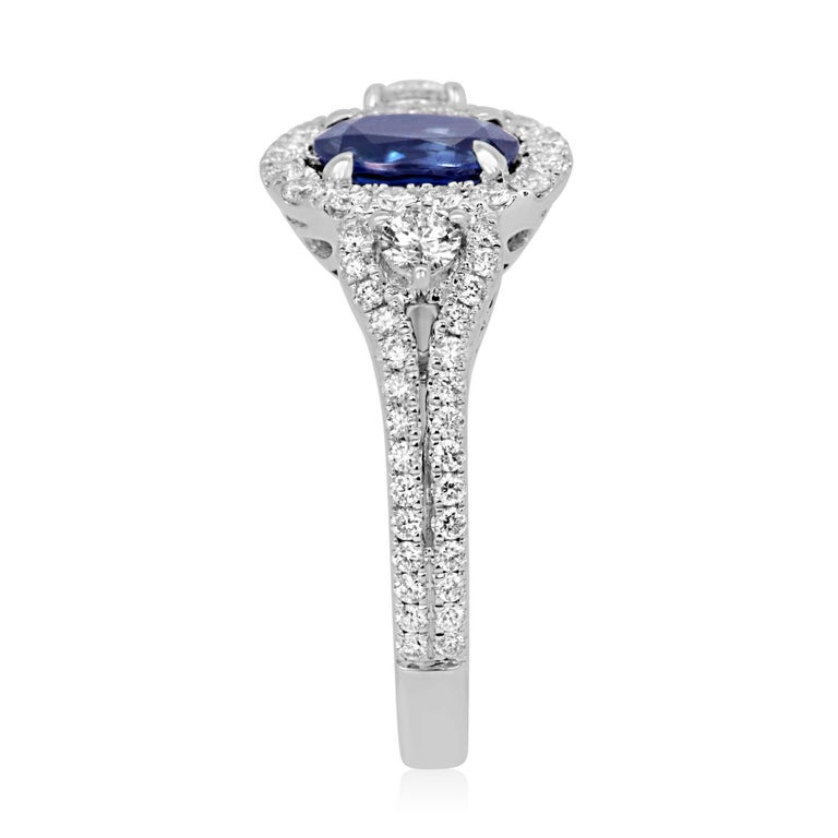 Blue Sapphire Oval Diamond Halo Bridal Fashion Cocktail Three-Stone Gold Ring For Sale 1