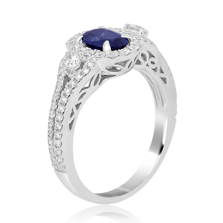 Blue Sapphire Oval Diamond Halo Bridal Fashion Cocktail Three-Stone Gold Ring For Sale 3
