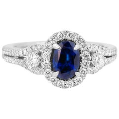Blue Sapphire Oval Diamond Halo Bridal Fashion Cocktail Three-Stone Gold Ring