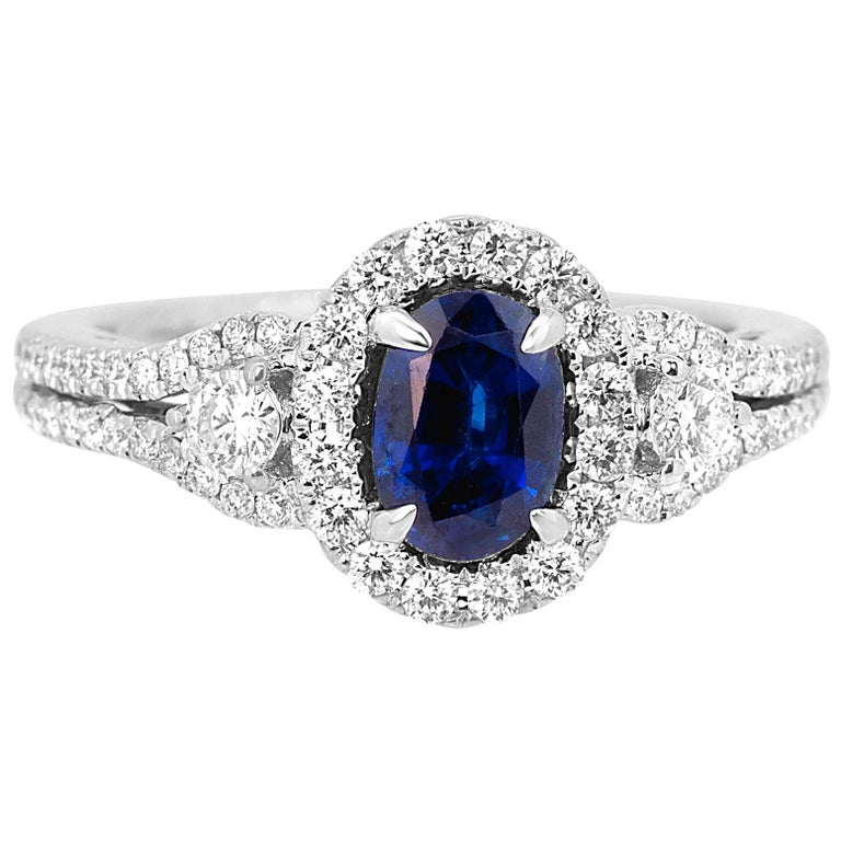 Blue Sapphire Oval Diamond Halo Bridal Fashion Cocktail Three-Stone Gold Ring For Sale