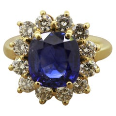 Blue Sapphire Diamond Halo Gold Ring, GIA Certified