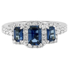 Blue Sapphire Diamond Halo Gold Three-Stone Cocktail Fashion Ring