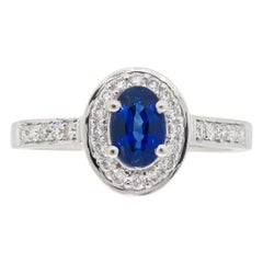 Blue Sapphire Diamond Halo Ring Made in 14 Karat White Gold