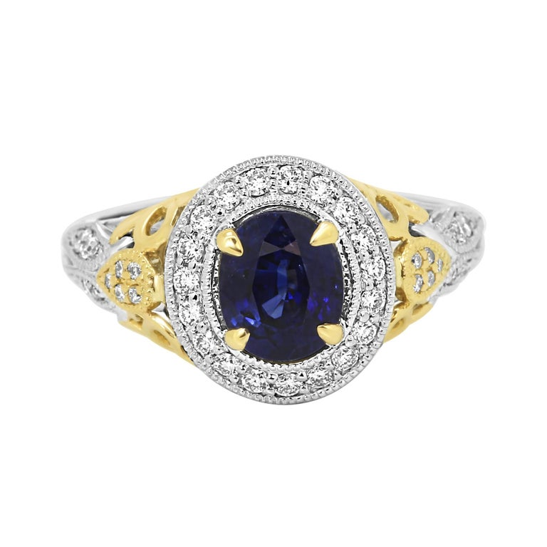 Blue Sapphire Diamond Halo Two Color Gold Ring