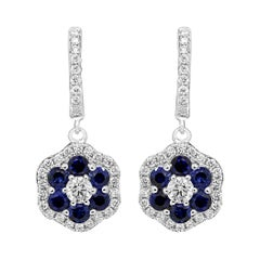 Blue Sapphire Diamond Halo White Gold Cluster Dangle Drop Lever Back Earring