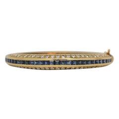 Blue Sapphire & Diamond Hinged Bangle Bracelet Set in 18k Yellow Gold, 9.46ct