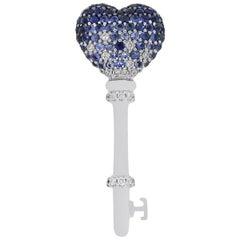 Blue Sapphire Diamond Key Pendant