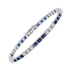 Blue Sapphire Diamond Line Bracelet