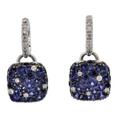 Blue Sapphire Diamond Pave Gold Drop Earrings