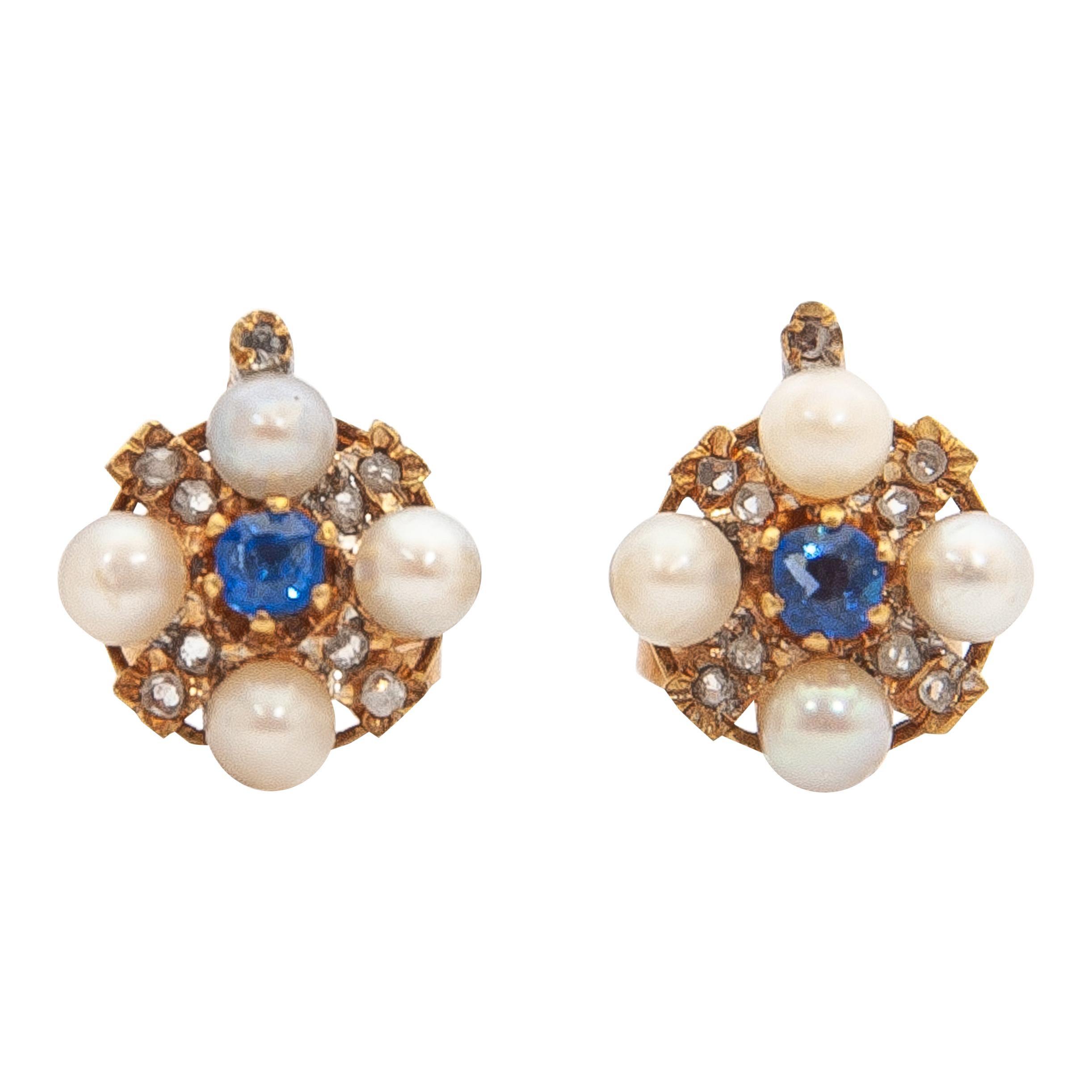 Sapphire, Diamond And Pearls 14K Gold Stud Earrings