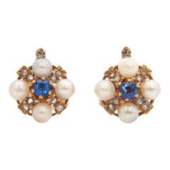 Blue Sapphire Diamond Pearl 14 Karat Gold Earrings