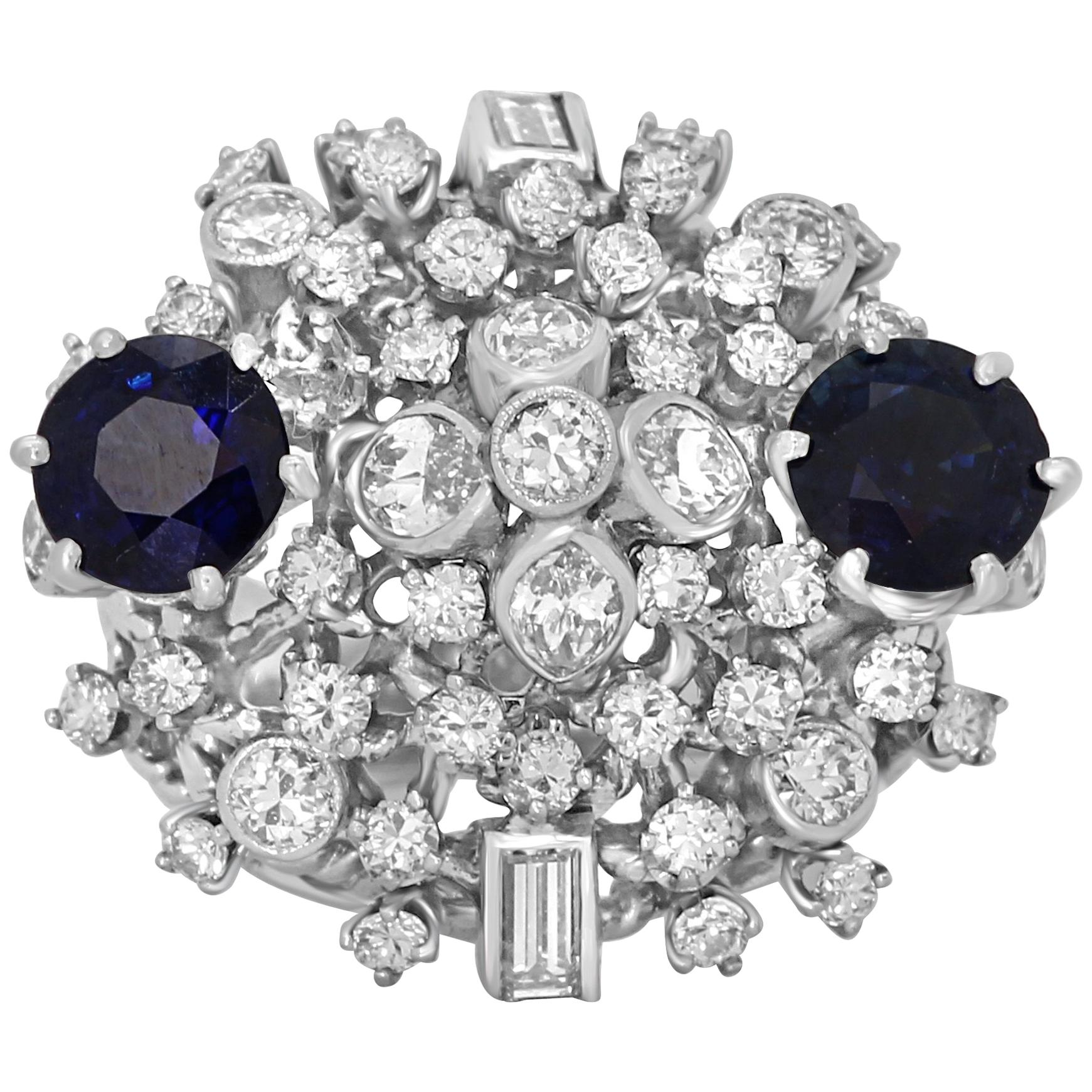 Blue Sapphire Diamond Platinum Cocktail Dome Ring