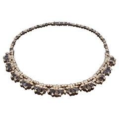 Blue Sapphire Diamond Platinum Necklace
