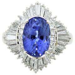 Blue Sapphire Diamond Platinum Ring