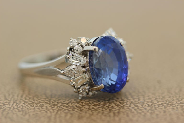 Oval Cut Blue Sapphire Diamond Platinum Ring, GIA Certified For Sale