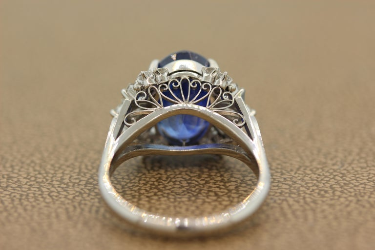 Women's or Men's Blue Sapphire Diamond Platinum Ring, GIA Certified For Sale