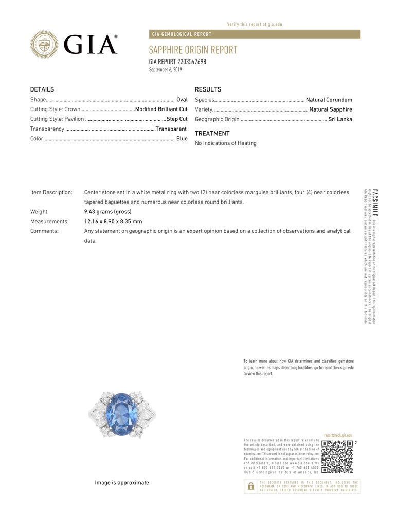 Blue Sapphire Diamond Platinum Ring, GIA Certified For Sale 2
