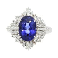 Blue Sapphire Diamond Platinum Ring, GIA Certified