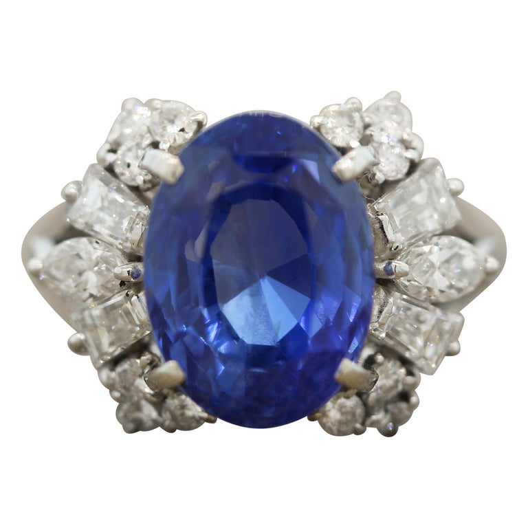 Blue Sapphire Diamond Platinum Ring, GIA Certified For Sale