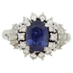 Blue Sapphire Diamond Platinum Spray Ring