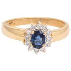 Blue Sapphire Diamond Princess Ring Vintage 18 Karat Gold Estate Fine Jewelry
