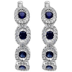 Blue Sapphire Diamond Round Halo Gold Dangle Drop Lever Back Fashion Earring