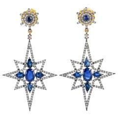 Blue Sapphire Diamond Star Drop Earrings