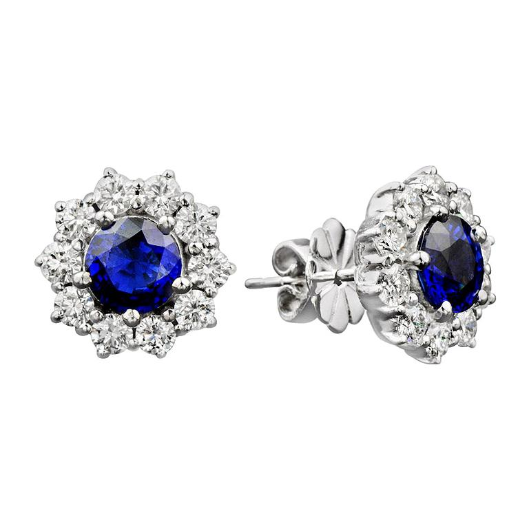 Blue Sapphire Diamond Stud Earrings For Sale