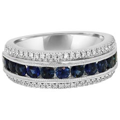 Blue Sapphire Diamond Three-Row Gold Band Ring