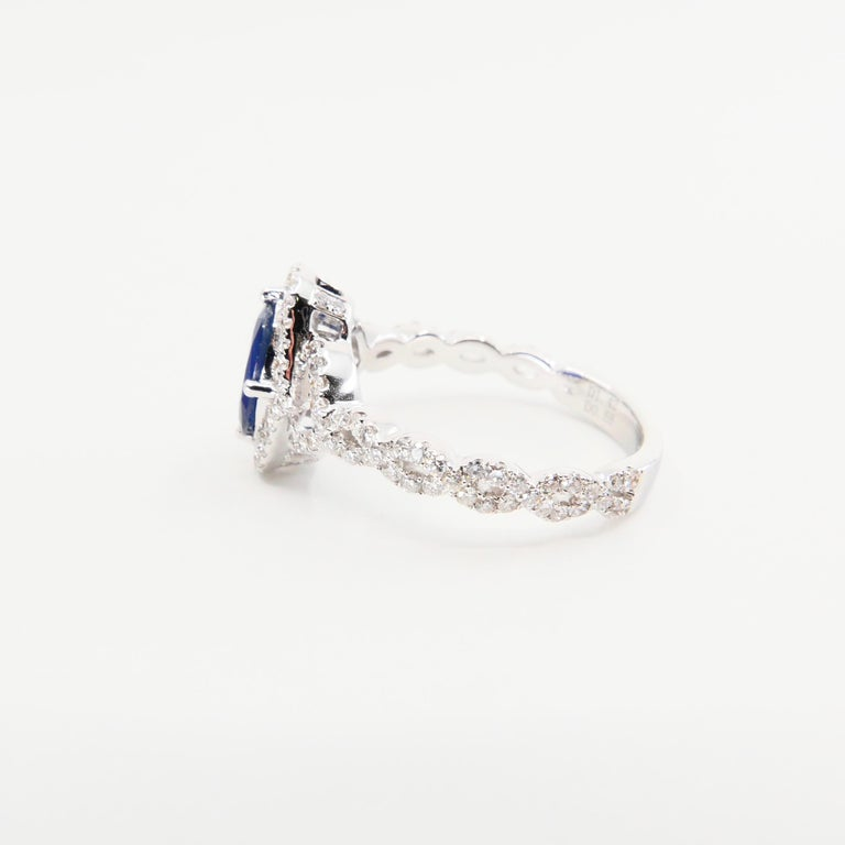 Blue Sapphire and Diamond Twist Ring, 18 Karat White Gold For Sale 2
