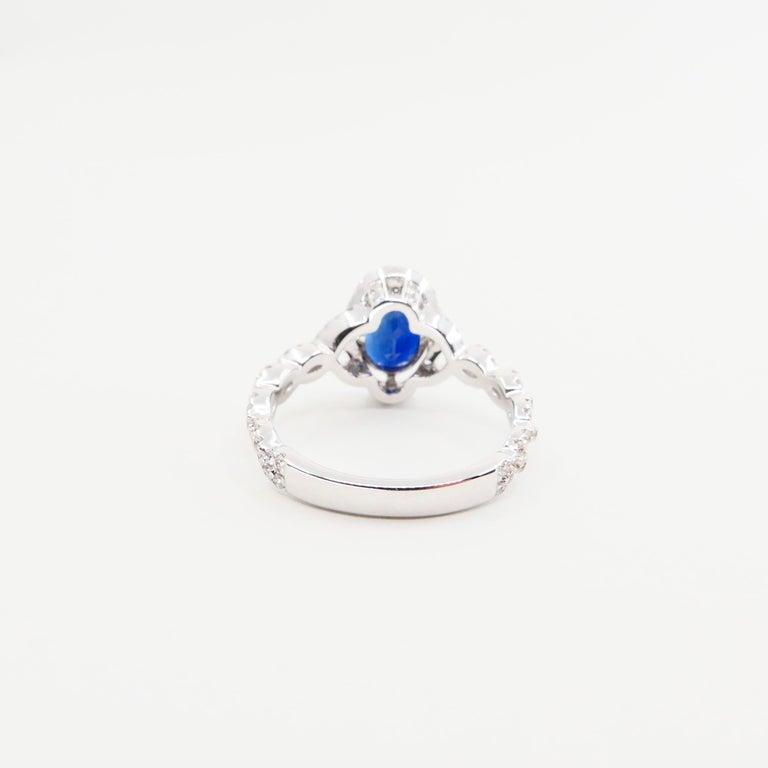 Blue Sapphire and Diamond Twist Ring, 18 Karat White Gold For Sale 3