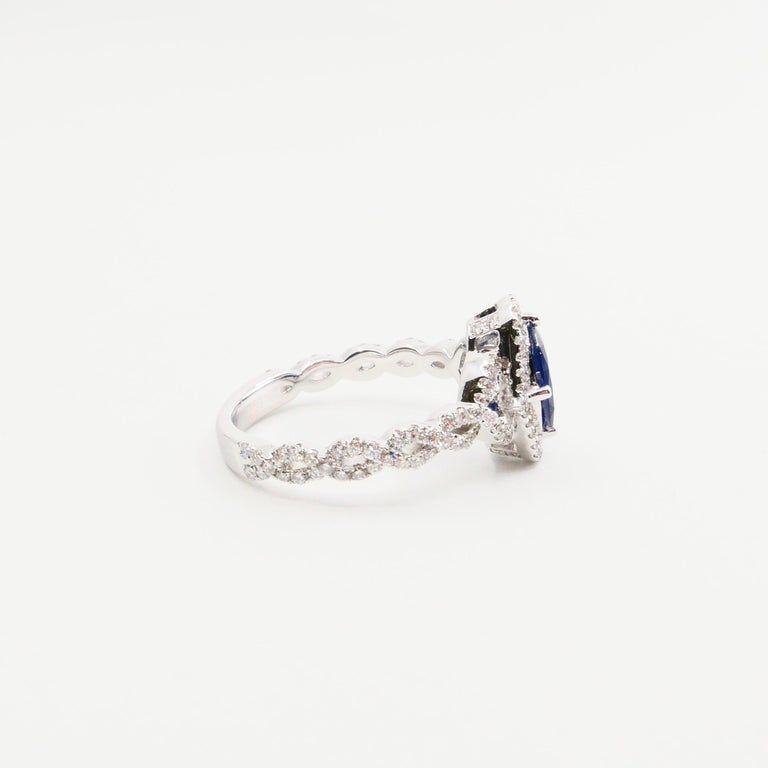 Blue Sapphire and Diamond Twist Ring, 18 Karat White Gold For Sale 4