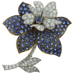 Blue Sapphire Diamond Two-Tone Gold Flower Brooch