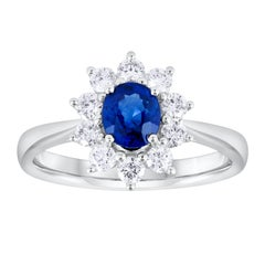 Blue Sapphire Diamond White Gold Flower Cluster Ring