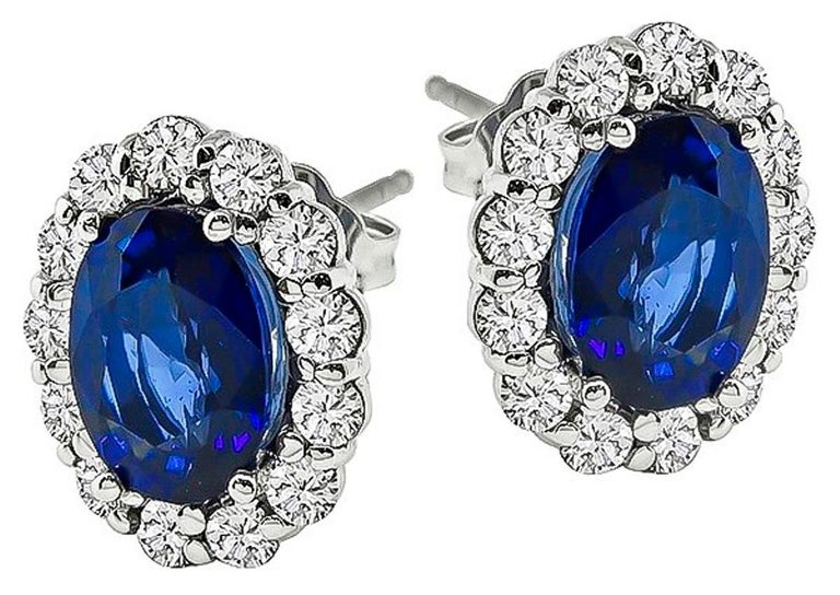 Oval Cut Blue Sapphire Diamond White Gold Halo Earrings For Sale